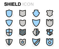 Vector flat line shield icons set Royalty Free Stock Photos