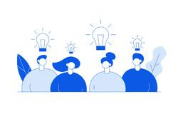 Vector flat line style business teamwork and idea design concept with big modern people, light bulbs, leaves. Trendy brainstorming illustration with men and vector illustration