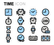 Vector flat line time icons set. On white background Stock Illustration