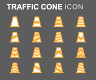 Vector flat line traffic cone icons set Stock Image