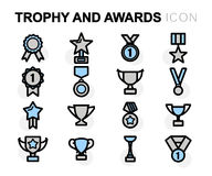 Vector flat line trophy and awards icons set. On white background Royalty Free Stock Photo