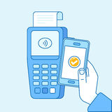 Vector flat linear illustration in blue colors - contactless pay Royalty Free Stock Image