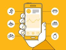 Vector flat linear illustration - health app on the mobile phone Royalty Free Stock Photos