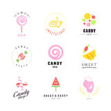 Vector flat logo collection for candy shop and sweet store. Royalty Free Stock Photography