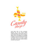 Vector flat logo collection for candy shop and sweet store. Royalty Free Stock Photo