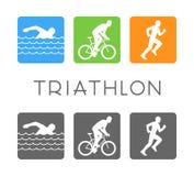 Vector flat logo triathlon. Swim, bike and run icon Royalty Free Stock Photography