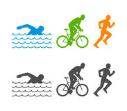 Vector flat logo triathlon. Figures triathletes on a white background. Swimming, cycling and running symbol Stock Images