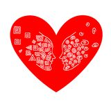 Duo of opposites in the heart. Vector flat loving couple illustration. Good for Valentine day card design Stock Photo