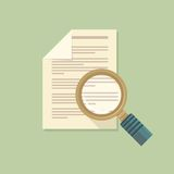 Vector flat magnifier and paper document Stock Photography