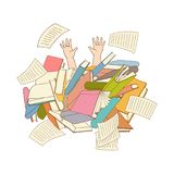 Vector flat man hands sticking out books pile heap. Man hands sticking out books pile. Overwork or studying exams concept. Education work and stress concept royalty free illustration
