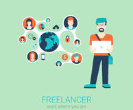 Vector flat man with laptop in freelance work concept Royalty Free Stock Photos