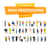 Vector flat man portrait collection isolated on white background. Royalty Free Stock Images