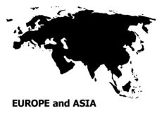 Vector Flat Map of Europe and Asia with Caption royalty free illustration