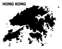 Vector Flat Map of Hong Kong with Caption stock illustration