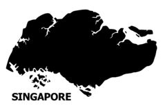 Vector Flat Map of Singapore with Caption stock illustration