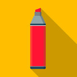 Vector flat marker pen icon  yellow background Royalty Free Stock Photography