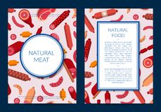 Vector flat meat and sausages icons card or flyer template illustration royalty free illustration