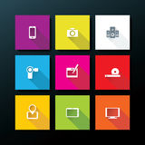 Vector flat media icon set Royalty Free Stock Images
