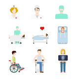 Vector flat medical web icons: hospital patient x-ray doc nurse. Creative flat style concept vector people icon set for hospital patient medical team checkup Royalty Free Stock Photography