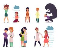 Vector flat people suffering from mental illness. Vector flat mental illness, disorder set. Male, female characters suffering from anxiety, depression fear vector illustration