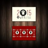 Vector flat Merry Christmas and Happy New Year. Concepts. Business Card Design templates on wood background. Design elements for flyer,cards, flyer, banner in Stock Photo