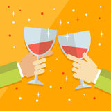 Vector flat modern concept illustration on celebration and party featuring multiple raised hands holding different champagne glass Stock Photos