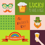 Vector flat modern creative concept design on Saint Patricks Day party. party invitation design elements Stock Photography