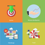 Vector flat modern icons on sample background Royalty Free Stock Images