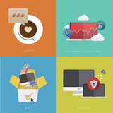 Vector flat modern icons on sample background Royalty Free Stock Image