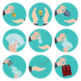 Vector flat modern icons set. Business development. Eps10 Royalty Free Stock Photography