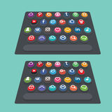 Vector flat modern keyboard, social buttons. Material design Royalty Free Stock Image