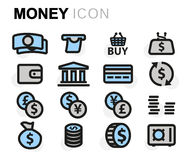 Vector flat money icons set. On white background Royalty Free Stock Photography