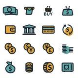 Vector flat money icons set. On white background Royalty Free Stock Photos