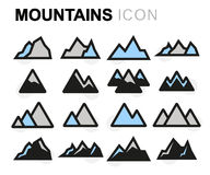 Vector flat mountains icons set royalty free illustration