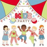 Vector flat multinational kids party poster. African black, caucasian and asian boy and girl kids icon dancing singing having fun. Isolated illustration, air Royalty Free Stock Photos