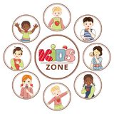 Vector flat multinational kids zone portrait. S in circles set. african black, caucasian and asian boy and girl kids icon dancing singing having fun. Isolated Royalty Free Stock Image