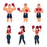 Vector flat muscular althlete boxer woman. Vector cartoon muscular strong cute beautiful woman, girl and handsome man stand in different poses with red boxing stock illustration