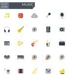 Vector flat music icons set Stock Photo