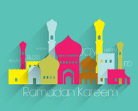 Vector Flat Muslim Mosque Graphics. Translation: Ramadan Kareem - May Generosity Bless You During The Holy Month Royalty Free Stock Photo