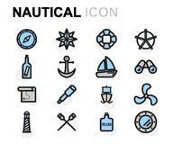 Vector flat nautical icons set Stock Image