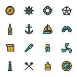 Vector flat nautical icons set Stock Photos
