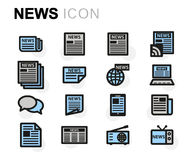 Vector flat news icons set Royalty Free Stock Photo