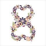 Vector flat number 8 with flowers. International Women s Day. Vector flat number 8 with flowers. International Women s Day vector illustration