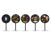 Vector flat nutrition badges. Food icons in black circles Royalty Free Stock Images