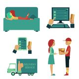Vector flat online shopping concept scenes set. Illustration with businessman hand holding credit card looking at desktop screen, courier giving box to girl Royalty Free Stock Photo