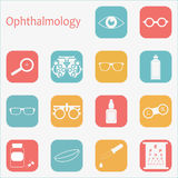Vector flat optometry icon set with long shadow. Optician, ophthalmology, vision correction, eye test, eye care, eye Royalty Free Stock Image