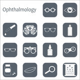 Vector flat optometry icon set with long shadow. Optician, ophthalmology, vision correction, eye test, eye care, eye Stock Photos