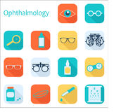Vector flat optometry icon set with long shadow. Optician, ophthalmology, vision correction, eye test, eye care, eye Stock Image