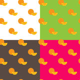 Vector flat orange fruits seamless pattern Royalty Free Stock Photo