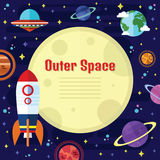 Vector Flat Outer Space Elements Stock Photos
